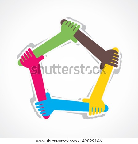 hand join team work or support each other vector - stock vector
