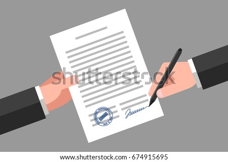 Hand Keeping Document Another Hand Keeping Stock Vector 674915695