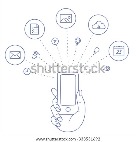 Hand keeps mobile with set of line icons. Demonstration screen of display for market. Internet trends, social network, search in smartphone. Vector flat illustration of cloud service and technology.  - stock vector