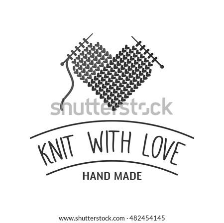 Hand Knit Label Badge Logo Design Stock Vector 2018 482454145