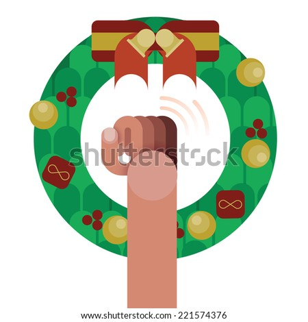 Hand knock door,christmas wreath with red ribbon bow decoration isolated by Christmas concept vector - stock vector