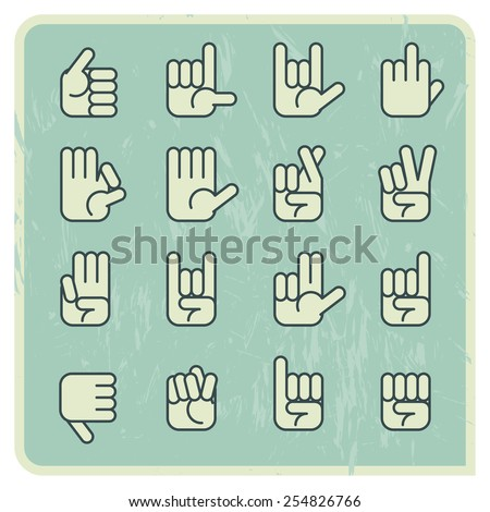 Hand language design icon, vector vintage - stock vector