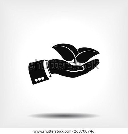 hand & leaf - nature conservation or spa concept vector. - stock vector