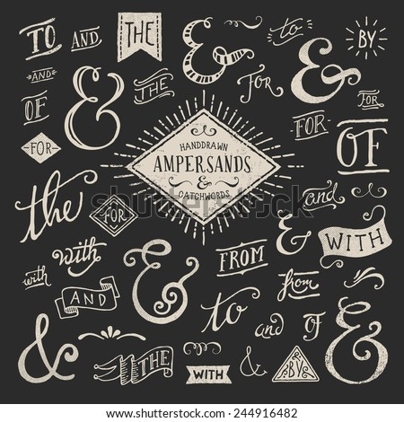 hand-lettered ampersands and catchwords - stock vector