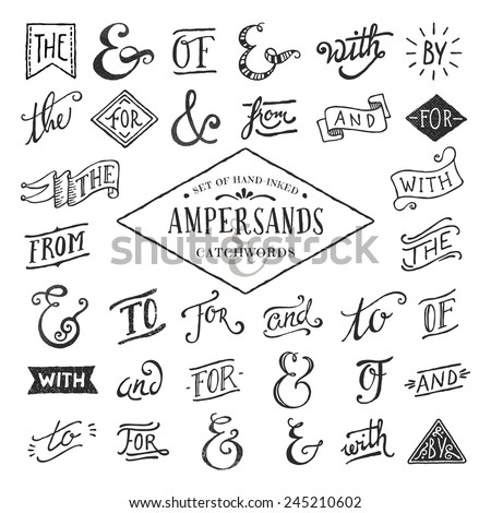 hand lettered ampersands and catchwords - stock vector