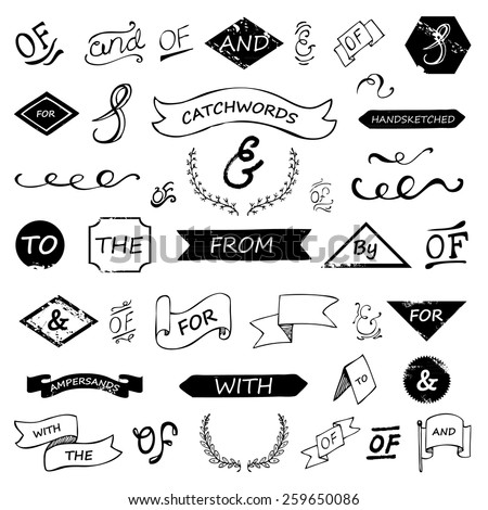 hand lettered ampersands and catchwords set - stock vector