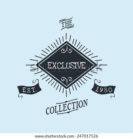 hand lettered catchword vintage tag exclusive - stock vector