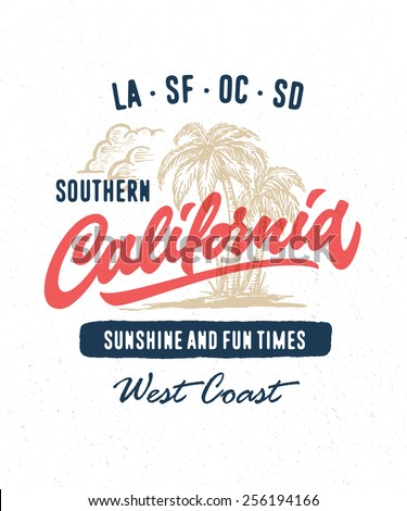 Hand lettered southern California apparel t shirt fashion design, summer beach palm tree tee graphic, typographic art, ink drawing vector illustration, Golden state west coast travel souvenir - stock vector