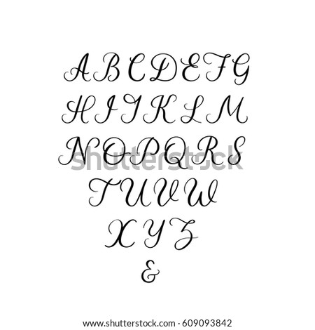 Vector Calligraphy Alphabet Uppercase Letters For Wedding Decoration Greeting Card