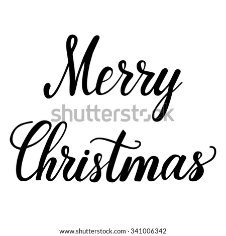 Hand lettering Merry Christmas inscription, black script text isolated on white background. Vector illustration. - stock vector