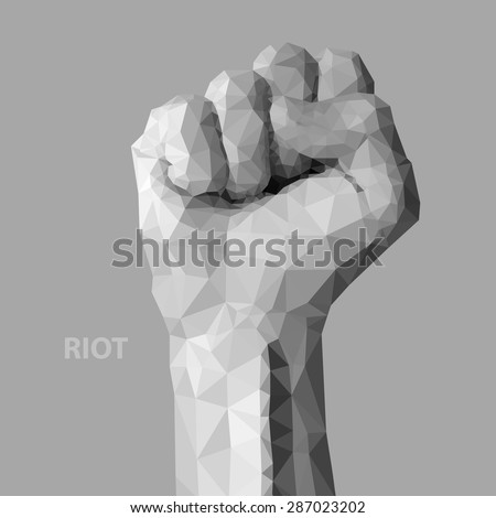 Hand like fist - sign by man hand, isolated on gray background. Hand which show riot.