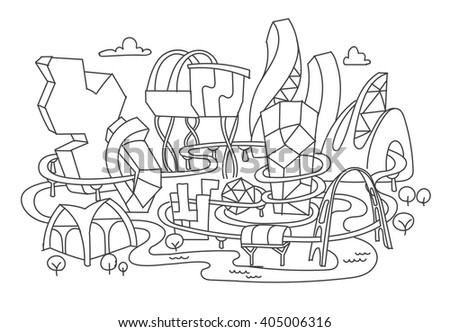 Hand line drawing, futuristic city architecture - stock vector