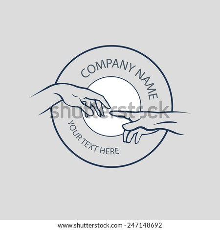 Hand logo design. hands together - concept vector of support, care, love & friendship.  - stock vector