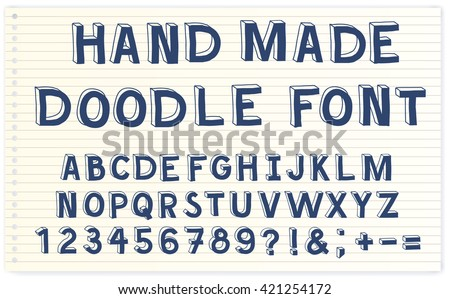 "Hand made doodle font. Doodle alphabet, vector hand drawn letters. Notebook paper background. ""Back to school"" theme. Felt tip pen. - stock vector"