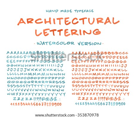 Hand Made Font Architectural Lettering Custom Handwritten Alphabet Original Letters And Numbers