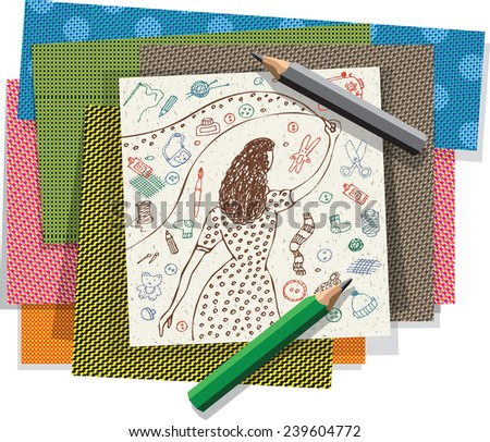 Hand made girl drawing and crafts materials banners. Color vector illustration. - stock vector