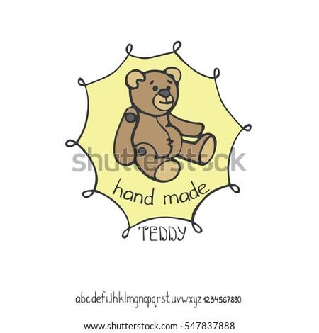 Hand Made Logodoodle Badgessewing Teddy Bear Stock Vector 547837888 ...