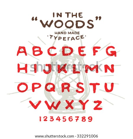 Hand Made rustic typeface 'In The Woods' Custom handwritten alphabet. Hand drawn Letters and Numbers. Vintage retro textured font grunge effect. Background Lantern Vector illustration with sun rays. - stock vector