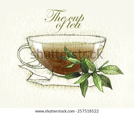 Hand made sketch of tea or coffee cup made in vintage style - stock vector