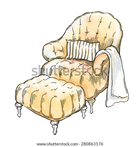 Hand made vector sketch of cozy furniture - stock vector