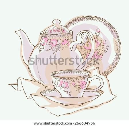 Hand made vector sketch of tea service - stock vector