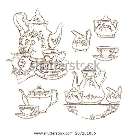 Hand made vector sketch of tea service. - stock vector