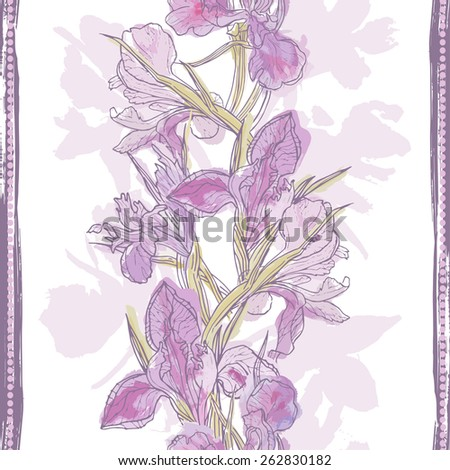 Hand made watercolor iris flowers seamless border. All objects are conveniently grouped  and are easily editable. - stock vector