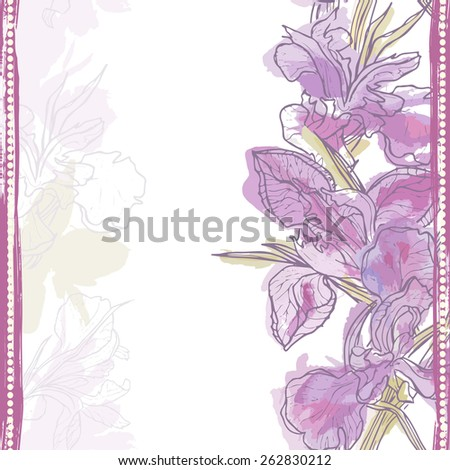 Hand made watercolor iris flowers vertical seamless border. All objects are conveniently grouped  and are easily editable. - stock vector