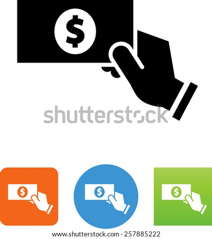 Hand making a payment symbol for download. Vector icons for video, mobile apps, Web sites and print projects.  - stock vector