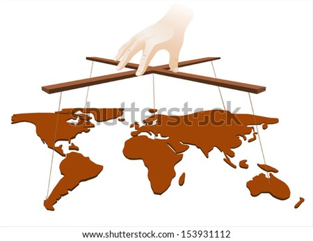 Hand manipulate the world on white background - stock vector