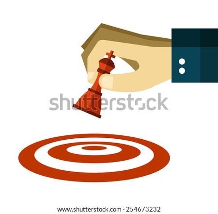 Hand moves a chess pawn to dart target. flat design. vector illustration - stock vector
