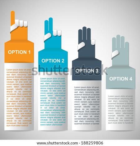 hand number banner design template vector eps 10 illustration - stock vector