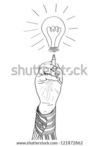 Hand of a businessman drawing lightbulb. vector illustration - stock vector