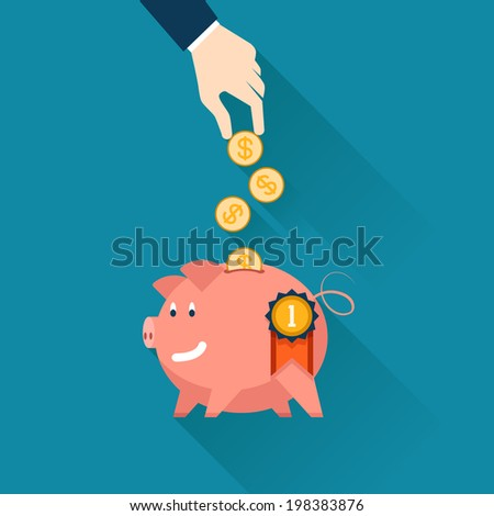 Hand of a businessman dropping gold coins into the slot of a piggy bank conceptual of money  finances  savings  investment and wealth  vector illustration - stock vector