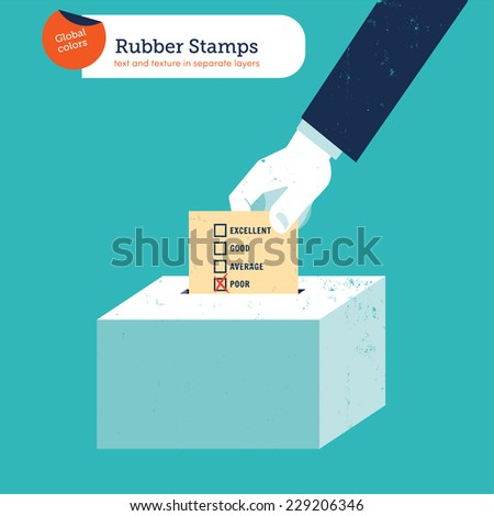 Hand of a businessman putting a poor voting ballot in a slot ballot box. Vector illustration Eps10 file. Global colors. Text and Texture in separate layers. - stock vector