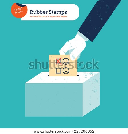 Hand of a businessman putting a smiley voting ballot in a slot ballot box. Vector illustration Eps10 file. Global colors. Text and Texture in separate layers. - stock vector