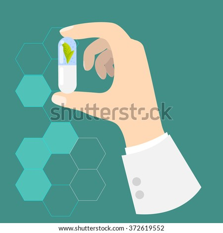 Hand of a doctor holding drug capsule. Pill in hand. Chemistry or pharmacy innovative supplement concept background. - stock vector