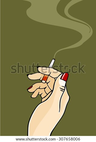 Hand of a woman holding a cigarette - stock vector