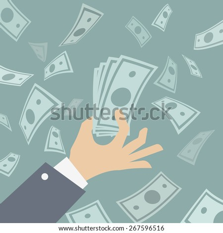 Hand of business man holding spread of cash on background with falling money. Vector Illustration. - stock vector