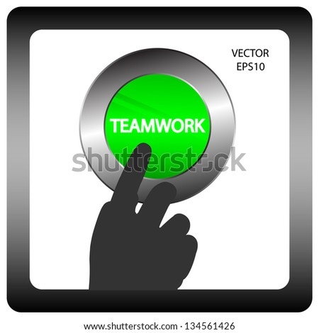 hand of business man pushing a button,hand sign with business button,business concept,vector - stock vector