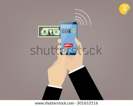 Hand of business man touching withdraw button of mobile banking application on the smartphone screen