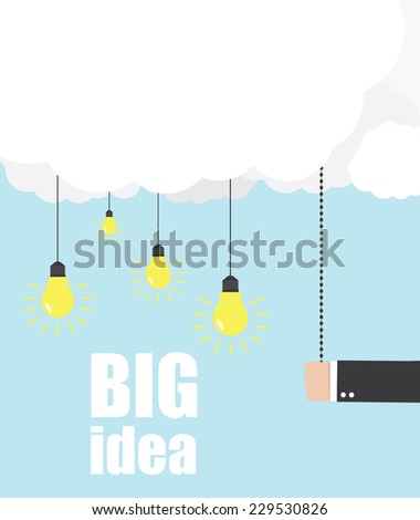 Hand of businessman pulling a light switch, the idea - stock vector