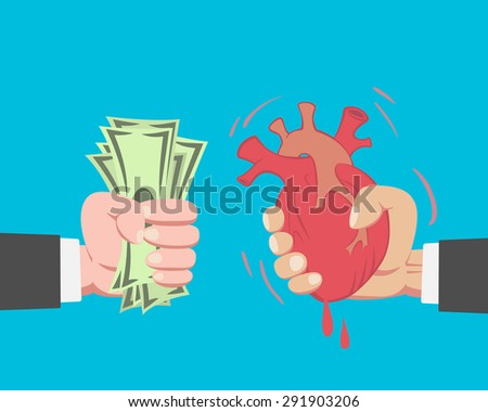 Hand of businessman with money buying a Heart from another businessman on blue background vector - stock vector