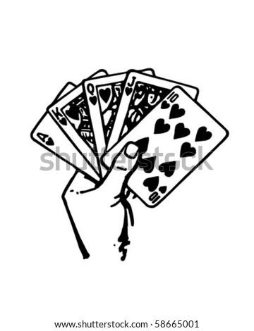 Hand Of Cards - Retro Clip Art - stock vector