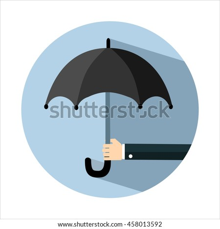 Hand of man holding an umbrella. Flat style with long shadows. Vector illustration