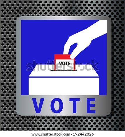 Hand of man voting ballot with box vector - stock vector