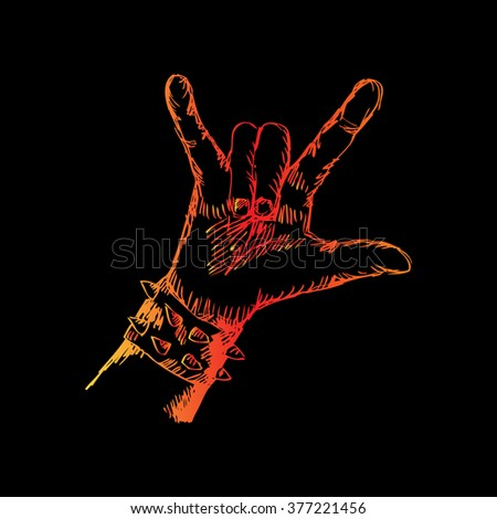 Hand of rocker in leather bracelet. Sketchy style. - stock vector