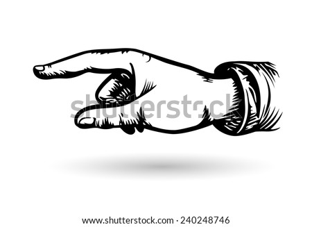 Hand of the human on white background. Pointing finger. Vector drawing. Hand banner. Hand arrow.