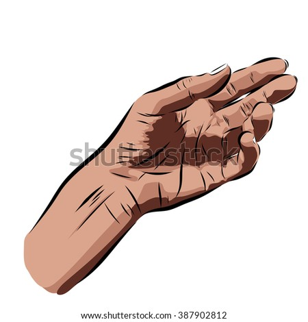 hand on a white background. Vector EPS illustration