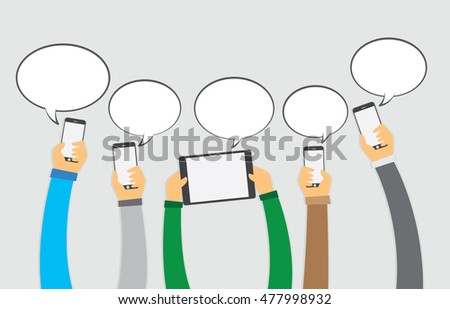 Hand on the smartphone and tablet with speech bubble, ecommerce concept, vector 10